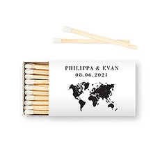 Custom Matchbox Wedding Favor - World Travel