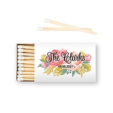 Custom Matchbox Wedding Favor - Modern Floral