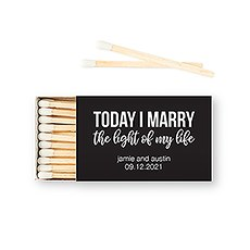 Custom Matchbox Wedding Favor - Light of My Life