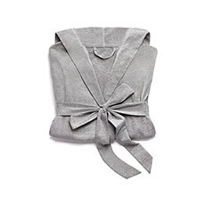 Women's Grey Hooded Spa & Bath Robe- White Stitching