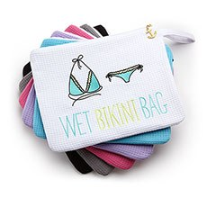 Waterproof Wet Bikini and Swimsuit Bag- White