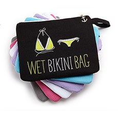 Waffle Wet Bikini and Swimsuit Bag - Black