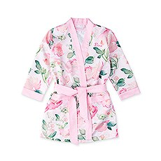 Little Girl Silky Kimono Robe - Pink Floral with Pink Trim
