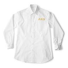 Personalized Embroidered Casual Bridesmaid Cotton Button Down Shirt- White Monogram