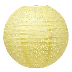 Large Eyelet Paper Lantern - Light Yellow