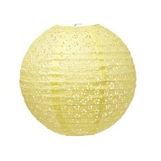 Small Eyelet Paper Lantern - Light Yellow