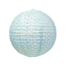 Small Eyelet Paper Lantern - Light Blue