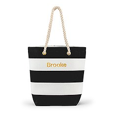 Personalized Large Bliss Striped Cotton Canvas Fabric Tote Bag- Black and White