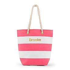Personalized Large Bliss Striped Cotton Canvas Fabric Tote Bag- Pink and White