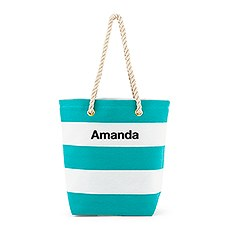 Personalized Large Bliss Striped Cotton Canvas Fabric Tote Bag- Blue and White