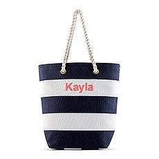 Personalized Large Bliss Striped Cotton Canvas Fabric Tote Bag- Navy and White