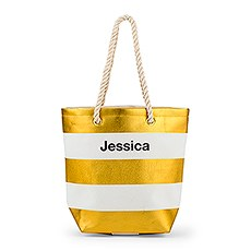 Personalized Large Bliss Striped Cotton Canvas Fabric Tote Bag- Gold and White