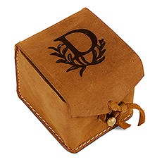 Tanned Genuine Leather Ring Box - Personalized