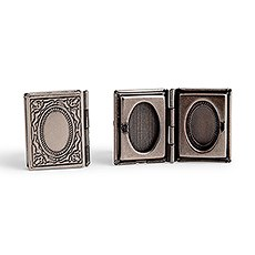 Vintage Book Locket Cufflinks - Antique Silver