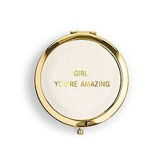Personalized Engraved Faux Leather Compact Mirror - You're Amazing