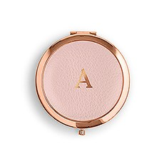 Personalized Engraved Faux Leather Compact Mirror - Initial Monogram