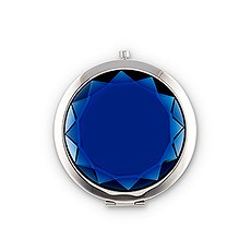 Personalized Jewel Compact Mirror Gift - Sapphire Blue