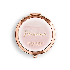 Personalized Engraved Bridal Party Pocket Compact Mirror - Pink Aqueous