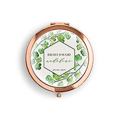 Personalized Engraved Bridal Party Pocket Compact Mirror - Greenery