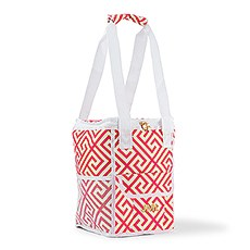 Personalized Pink and White Insulated Cooler Bag - Monogram Embroidered