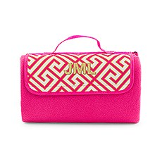 On-The-Go Picnic Mat - Pink & White Greek Key