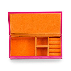 Vegan Leather Jewelry Box - Pink with Orange