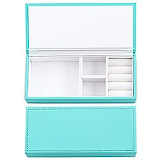 Vegan Leather Jewelry Box - Spa Blue with White