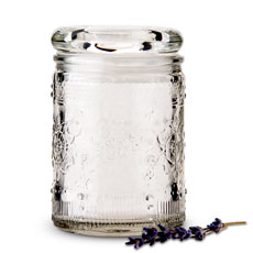Floral Pressed Glass Mason Jar Favor with Stopper (6)