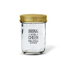 Glass Mason Jar with Gold Lid Favor (12)