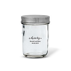Glass Mason Jar with Silver Lid Favor (12)