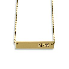 Horizontal Rectangle Tag Necklace - Initials with Heart
