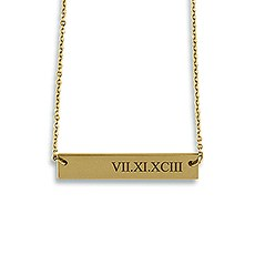Personalized Gold Horizontal Tag Necklace – Roman Numerals Engraving