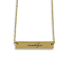 Horizontal Rectangle Tag Necklace - Script Font