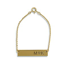 Horizontal Rectangle Tag Bracelet - Initials with Heart