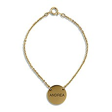 Personalized Circle Tag Bracelet – Modern Sans Serif Monogram Engraving