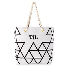 Personalized Extra-Large Geo Cotton Fabric Canvas Tote Bag - Black on White