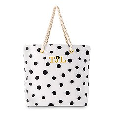 Personalized Extra-Large Polka Dot Cotton Fabric Canvas Tote Bag - Black on White