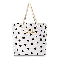 Personalized Polka Dot Cotton Fabric Canvas Tote Bag - Black on White