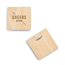 Natural Wood Coaster with Built-in Bottle Opener - Cheers Etching