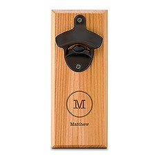 Cedar Wood Wall Mount Bottle Opener - Typewriter Monogram Etching