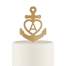 Love Anchor Acrylic Cake Topper - Metallic Gold