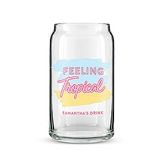 "Can Shaped Glass Personalized - ""Feeling Tropical"" Print"