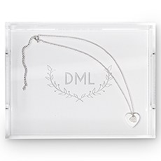 Small Personalized Rectangular Acrylic Tray – Woodland Initials Engraving