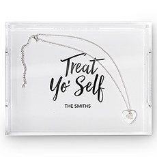 Small Personalized Rectangular Acrylic Tray – Treat Yo' Self Print