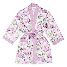 Premium Lavender Floral Silky Kimono Robe On Lavender With Pockets