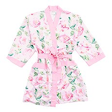 Premium Pink Floral Silky Kimono Robe On Pink With Pockets