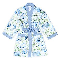 Premium Blue Floral Silky Kimono Robe On Blue With Pockets