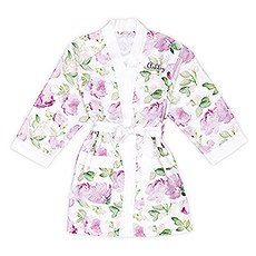 Premium Lavender Floral Silky Kimono Robe On White With Pockets
