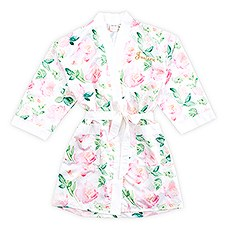 Pink Watercolor Floral Silky Kimono Robe on White