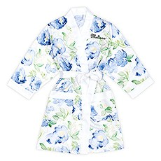 Premium Blue Floral Silky Kimono Robe On White With Pockets